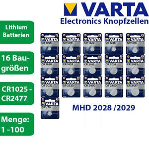Varta Lithium Knopfzellen Batterien 3V CR1025 - CR2477 3V - MHD 2027 - 2029