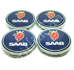 4 x Saab Alloy Wheel Centre Hub Caps Blue Set 62mm 63mm 93 9-3 95 9-5 900 9000
