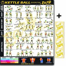 """Kettleball Exercise Workout Poster BIG 28 X 20"""" Chart Strength & Muscle Home Gym"""