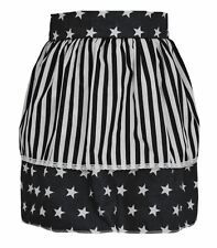 Ladies Black Star Pinafore With White Stripe 50's Apron Fancy Dress One Size