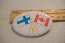 ~MCDONALDS~FINLAND & CANADA FLAGS~OVAL BUTTON PIN~