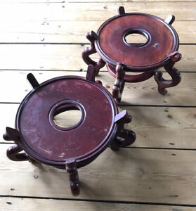2 x Large Chinese Hardwood Vase / Jardiniere Stands