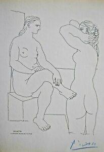 Pablo Picasso 2 Modelle sich betrachtend Handsigniert Suite Vollard Akt Erotik