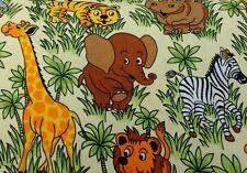 Mignon Bébé Jungle Animaux Sur Safari Imprimé 100% COTON TISSU VENDU/Par Mètre/