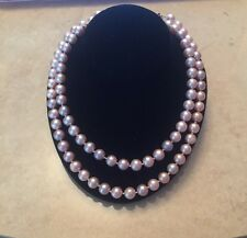 AUTHENTIC DOUBLE STRAND PINK PEARL NECKLACE WITH 14K GOLD CLASP