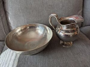 Antique Vtg Russian Imperial Solid Silver Wash Bowl & Pitcher Jug 1000+ Grams NR