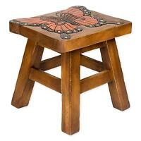 Monarch Butterfly Hand Carved Acacia Hardwood Decorative Short Stool