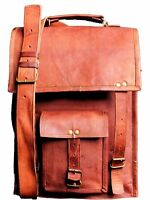 Men'S Genuine Handmade Leather Vintage Laptop Messenger Shoulder Briefcase Bag