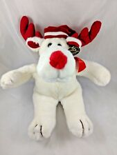 "The Smile Collection Reindeer Deer Elk Plush White Christmas Holiday 16"" 1989"