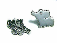 Silver tone small elephant charm earrings with crystal
