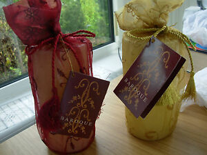 BAROQUE VANILLA SCENTED WHITE CHRISTMAS PILLAR CANDLE 6in x 3in GOLD WRAP