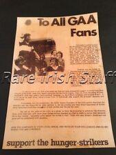 All GAA Fans - Support The Long Kesh Hunger Strikers 1981 - Gaelic Hurling Print