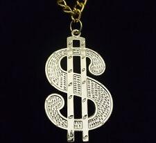Large Gold Dollar Sign Medallion - Fancy Dress Smiffys Accessory Pimp Mens 80s