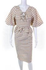 Moon River Womens Plaid V Neck Drop Waist Dress Beige White Size Large