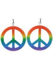 Rainbow Coloured Hippie Earrings Fancy Dress Accessory Hippy 60s 70s Peace Sign