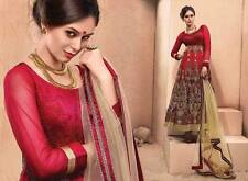 New Hot Fabulous Red Embroidery Work Wedding Long Party Wear Anarkali Suit
