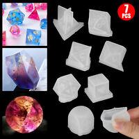 7pcs DIY Silicone Dice Digital Mold Epoxy Mould Triangle Square Shape Game Art