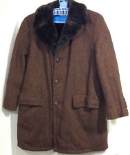 Mens 42 Coat The Northwest thick brown wool Plush pile lined Trench (cu)