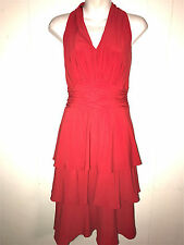 EVAN PICONE WOMENS LADIES JERSEY KNIT STRETCH COCKTAIL PARTY RED TIERED DRESS 10