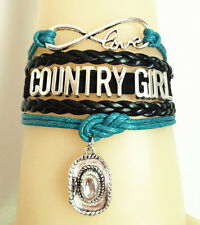 Infinity Love COUNTRY GIRL With Cowgirl Hat Charms Leather Friendship Bracelet