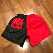 NEW Vtg 80s 90s UMBRO Soccer Shorts Red Black Mens MEDIUM nylon color block NOS