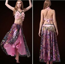 Elegant Belly Dance Costume Halter Bra Top Hip Scarf Skirt 3pcs Performance Wear