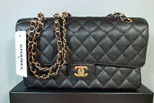 Chanel NEW Black Quilted Caviar Leather Medium Gold Chain Double Flap Bag Purse