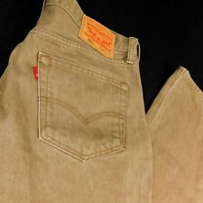Levis 501 Brown Denim Jeans W 34 L 32 (Act L 30) Button Fly