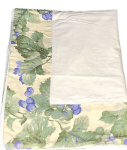 Anichini Italy Cotton King Size Pillow Sham Grape Vine Floral Border NWOT