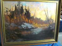 Vintage Impressionistic Oil Painting Adirondacks School River Scenario
