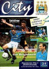 Manchester City v Middlesbrough programme, 1st Division, December 1997