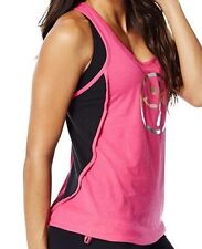 Woman Zumba Racerback Loose Top Pink (Fucsia) Size M