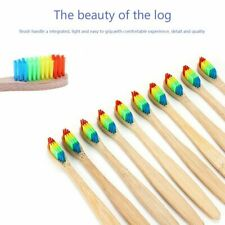 10X Bamboo Rainbow Toothbrush Soft Bristle Fibre Wooden Handle Clean Adult Kids
