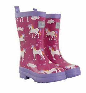 Hatley Girls Rain Boots Wellies Child's Size 7 Pink Rainbow Unicorn RRP £29