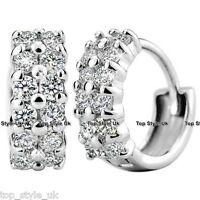 Crystal Stud Hoop Silver Earrings Cubic Zirconia Christmas Gifts for Her Girl Q1