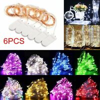 6Pk 20LED Battery Operated Micro Rice Wire Copper Fairy String Lights Christmas
