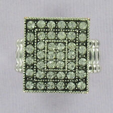 Square Pave Stretch Ring - Fashion Dinner Cocktail Rhinestone Silver One Size