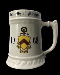Vintage 1968 University of Michigan Phi Kappa Tau Fraternity Beer Stein Mug