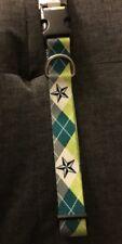 New Petco Adjustable Nylon Green Gray Star Dog Collar Large