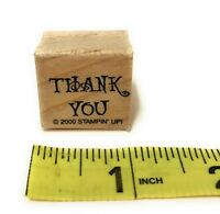 "Stampin Up Wood-Mounted Rubber Stamp 2000 Thank You Words Caps Saying 1"" Square"