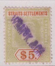 Straits Settlements KEVII $5 Dull Green & Brown-Orange SG138 Used 1905 Malaya