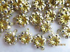 A252 - 36 Swarovski Rhinestones Flower Jackets / Pendants - Silver - 12mm  1-Eye