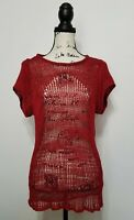 Helmut Lang Marled Knit Red Open Sweater Women S Small