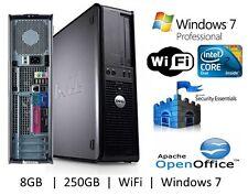 Fast Dell Core 2 Duo Desktop Computer 8GB 250GB Windows 7 Professional Wifi PC
