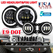Fit for 07-17 Jeep Wrangler JK Halo LED Headlights + Halo LED Fog Lights Combo