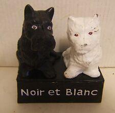 Vtg French Cast Iron Advertising Black & White Noir et Blanc Scottie Westie Dogs