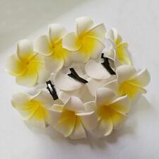 100P Women Plumeria Flower Hair Clip Accessories Barrette Hawaiian Wedding Party