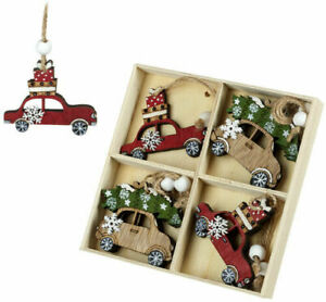 Set of Festive Christmas Wooden Nordic Hanging Tree Decorations  Cars UK Seller