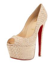 Christian Louboutin Jamie Plataforma Rojo Suela Manoletinas 160 Beis Zapato de