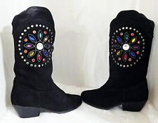 A.J. Valenci Suede/Leather Knee High Jeweled Western Wear Boots- Women's Size 6M